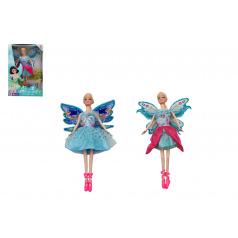 Teddies Panenka s křídly nekloubová plast 30cm 2 druhy v krabici 19 x 31 x 6cm