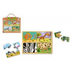Lowlands Dřevěné puzzle deskové na cestu Zvířata 16ks v papírové tašce 31x27,5x1cm 2+