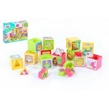 Kostky kubus vkládačka plast 12ks v krabici 30x23x7cm 12m+