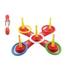Teddies Házecí hra plast kříž s kruhy v síťce