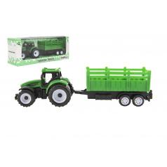 Teddies Traktor s vlekem plast 21cm na volný chod 2 barvy v krabičce 23x9x6cm