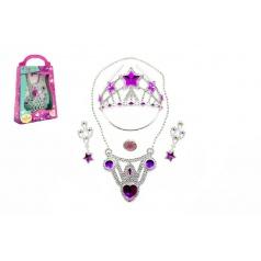 Teddies Sada krásy korunka + náušnice +náhrdelník plast asst 2 barvy v krabičce 19x28x6cm