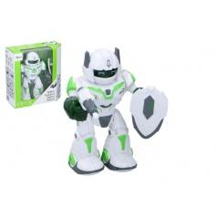 Teddies Robot chodící a otáčecí s doplňky 20cm na baterie se zvukem a světlem v krabici 23x24x10cm