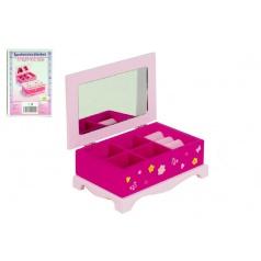 Teddies Skrinka šperkovnica Princess zrkadlo drevo 17x7x11,5cm v krabici