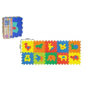 Wiky Pěnové puzzle Zvířata 30x30cm 10ks v sáčku