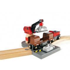 Brio 33061 Přístaviště s nákladní lodí a kolejemi s motorizovanou mašinkou