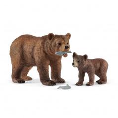 Schleich 42473 figurka Medvědice Grizzly s mládětem