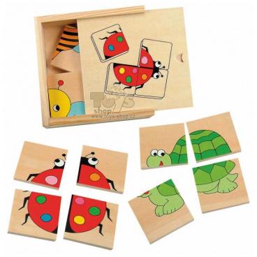 Woody Mini puzzle Beruška v dřevěné krabici