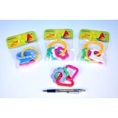 Profibaby Hryzátko tvary plast 8cm asst 4 farby v sáčku od 0 mesiacov
