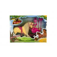 Teddies Kůň s doplňky a ohradou plast asst 2 barvy, v krabici 45x33x9cm