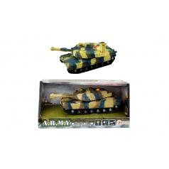 Teddies Tank plast 17cm na setrvačník na baterie se světlem se zvukem v krabici 21x11x9cm