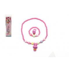 Teddies Náhrdelník, náramek a prstýnek korálky perleťové plast 20cm 2 barvy v sáčku