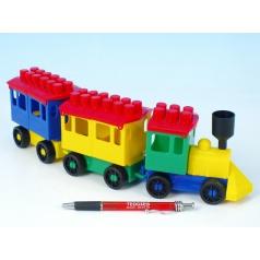 LORI Stavebnice LORI 7 vlak + 2 vagónky plast v sáčku 9x26x5cm