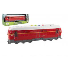Teddies Lokomotíva / Vlak červená plast 34cm na batérie so zvukom so svetlom v krabičke 41x16x12cm