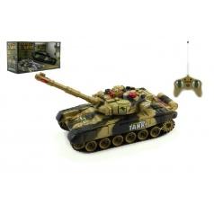 Teddies Tank RC plast 25cm s dobíjecím packem+adaptér na baterie asst 2 druhy