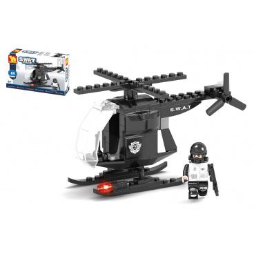 Dromader Kostky stavebnice Dromader Swat policie vrtulník 89 dílků v krabičce 19x13x4,5cm
