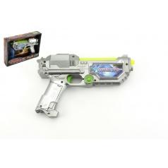 Pistole laserová plast 22cm na baterie se zvukem a se světlem v krabici