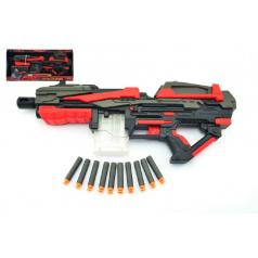 Teddies Pistole na pěnové náboje 10ks plast 54cm na baterie v krabici
