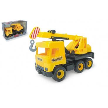 WADER Auto middle Truck jeřáb plast 40cm žlutý v krabici
