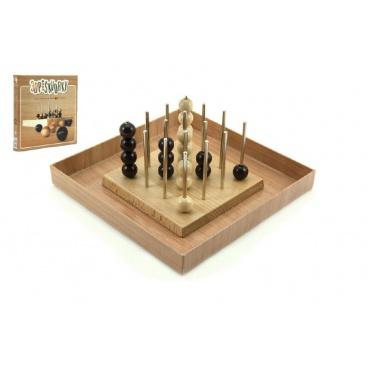 Voltik toys Piškvorky 3D podstavec + kuličky dřevo společenská hra v krabici