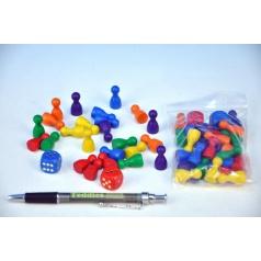 Detoa Figurky dřevo 25mm 24ks 6 barev+ 2 kostky společenská hra v sáčku 7x13cm