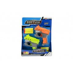 Teddies Pistole 2ks 12cm plast na pěnové náboje + 6ks nabojů na kartě