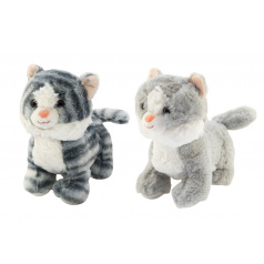 Teddies Kočka/Kočička stojící plyš 2 barvy 23cm v sáčku 0+