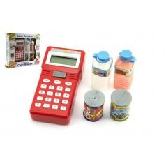 Teddies Ruční pokladna se skenerem + potraviny plast na baterie v krabici 25x22 cm