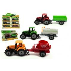 Traktor s přívěsem plast/kov 19cm asst 3 druhy v krabičce volný chod