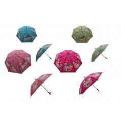 Teddies Deštník Jednorožec 66cm vystřelovací mix barev v sáčku