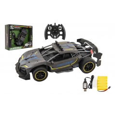 Teddies Auto RC Sport antracit 33cm plast 2,4GHz na baterie + dobíjecí pack v krabici 43x36x13cm