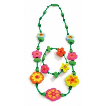 Woody 90933 Souprava náhrdelník a náramek - Zelený s květinami
