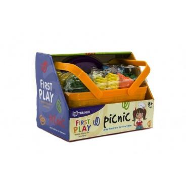 Teddies Zelenina a potraviny v košíku piknik plast 14ks v krabici 23x17x15cm