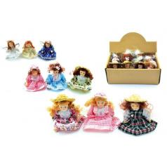 Miniaturní panenka porcelánová, 8,5cm asst