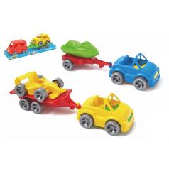 WADER Auto s přívěsem 7x24cm plast na volný chod mix druhů ve fólii Kid Cars Sport Wader