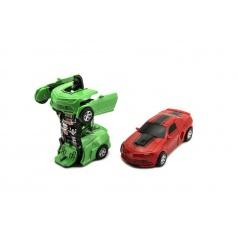 Teddies Auto robot/transformer plast 12cm asst 4 barvy na setrvačník 8ks v boxu