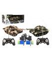 Tank RC 2ks 25cm tanková bitva+dob. pack 27MHZ a 40MHz maskáč se zvukem se světlem v kr. 50x20x23cm
