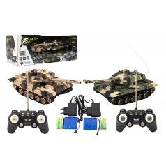 Teddies Tank RC 2ks 25cm tanková bitva+dob. pack 27MHZ a 40MHz maskáč se zvukem se světlem v kr. 50x20x23cm