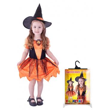 Dětský karnevalový kostým čarodějnice dýňová, vel. M