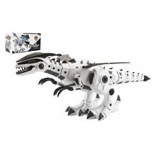 teddies Dinosaurus chodící plast 40cm na baterie se zvukem a světlem v krabici 34x19x17cm