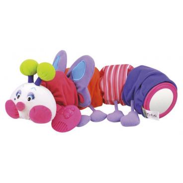 K´s Kids Stonožka růžová s kousátkem na prořezávání prvních zoubků, 48 cm dlouhá