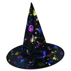 Karnevalový klobouk čarodějnický s potiskem pro dospělé