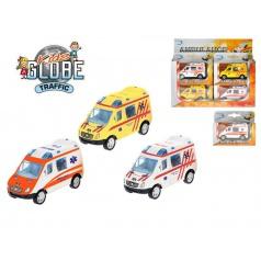 Auto Ambulance 8cm kov zpětný chod asst 3 barvy v krabičce 12ks v dbx