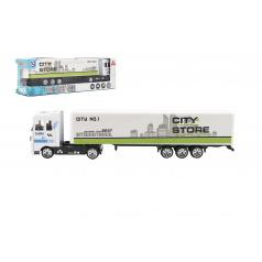 Teddies Kamión s návesom 19cm kov / plast na voľný chod 4 farby v krabičke 20x6x4cm 24ks v boxe