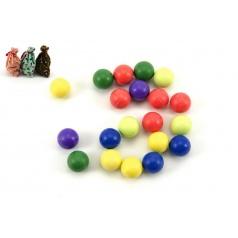 Teddies Kuličky cvrnkací nerozbitné barevné 20ks 1,5 cm 3 barvy látkového pytlíčku