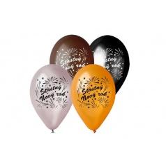 Smart Balloons Balonek nafukovací 11'' průměr 30cm Šťasný Nový rok 6ks v sáčku