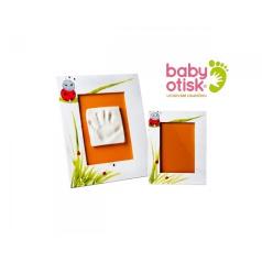 BABY OTISK - Sada pro otisk s ručně malovaným rámem a rámečkem na foto – bílá