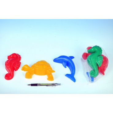 Formičky Bábovky zvířátka plast na písek 3ks v síťce 10x12x6cm