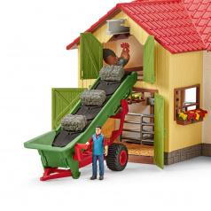 Schleich 42377 Zemědělský dopravaník na seno s farmářem