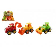 Traktor plast 13cm asst 3 druhy na setrvačník